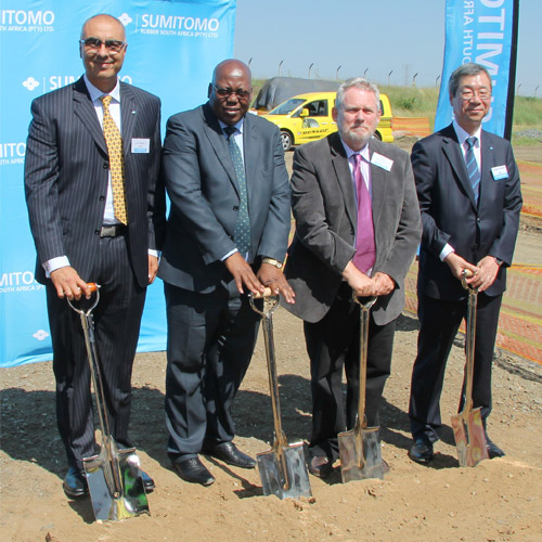 Soil-turning ceremony marking the expansion project Riaz Haffejee - CEO: SRSA, Michael Mabuyakhulu – MEC for Economic Development, Tourism and Environmental Affairs, Dr Rob Davies – Minister: Department of Trade and Industry, Yutaka Kuroda – Executive Director, SRI Ltd.
